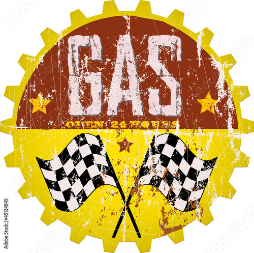 Vintage gas station sign, vector illustration