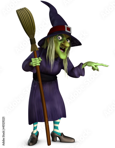 Foto auf Leinwand Nette Monster witch with broom