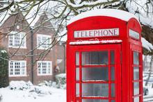 Telephone Box With Snow