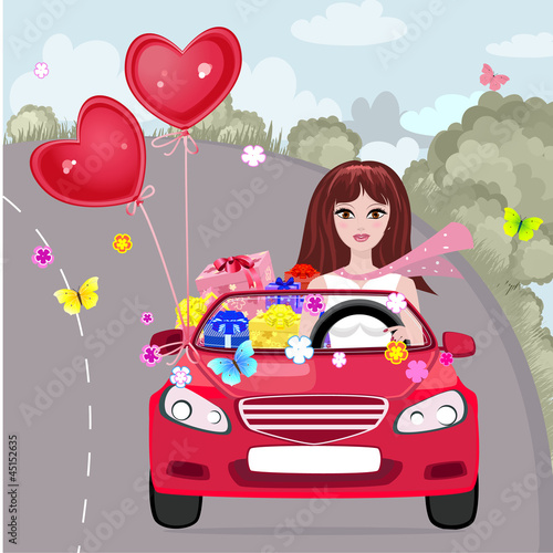 Keuken foto achterwand Cars Happy girl with gifts by car