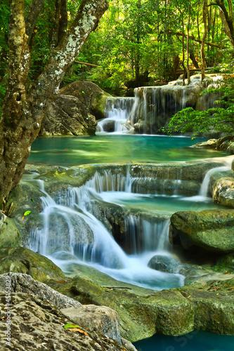 Wall Murals Waterfalls Erawan Waterfall in Kanchanaburi, Thailand