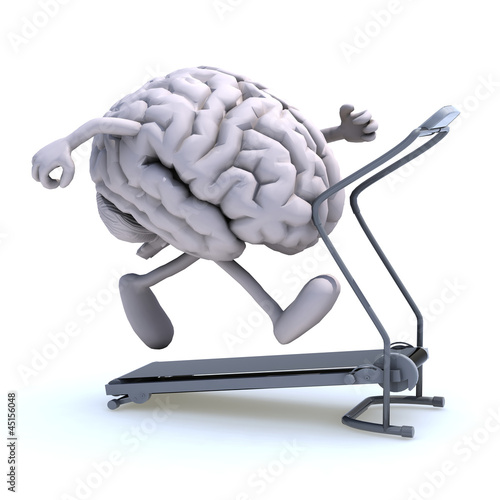 Photo  human brain on a running machine