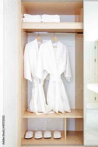 Fotografie, Obraz  Close up of twins bathrobe in wardrobe