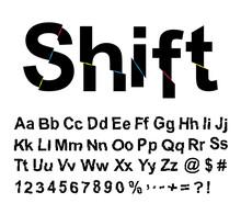 Abstract Shift Font. Vector Illustration.