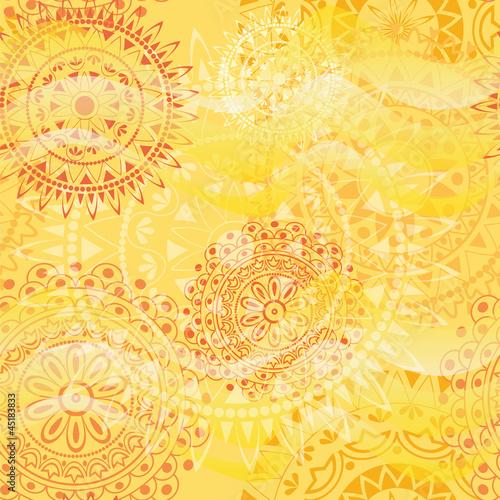 Fototapeta na wymiar Beautiful texture with mandalas in warm colors