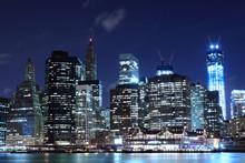 Manhattan Skyline At Night, New York City
