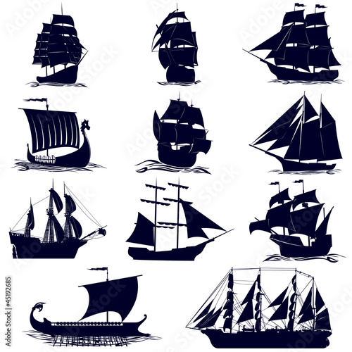 Deurstickers Schip The contours of the sailing ships