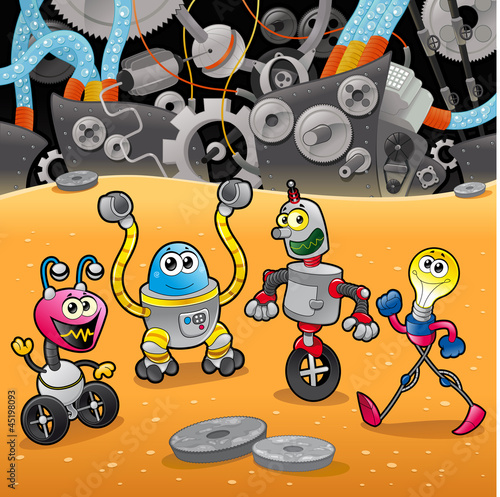 Montage in der Fensternische Roboter Robots with background. Cartoon and vector illustration.