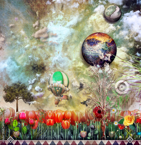 Wall Murals Imagination Fire balloon in the tulips field