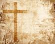 canvas print picture - Cross on parchment