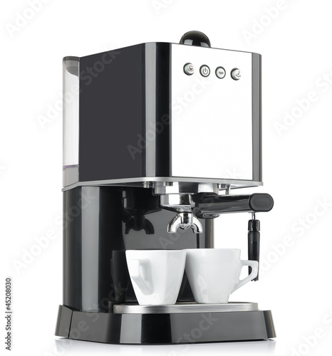 Photo Espresso coffee machine with two cups on white