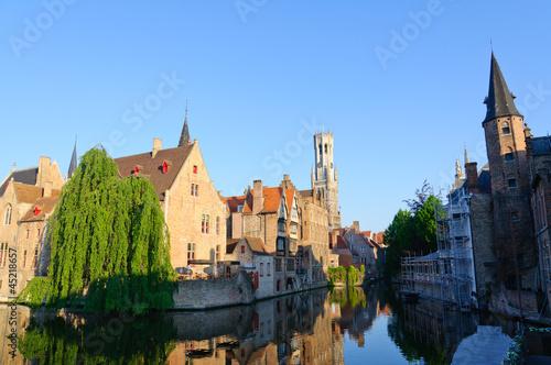 In de dag Brugge View from the Rozenhoedkaai of the Old Town of Bruges, Belgium