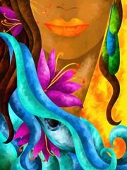 Fototapeta viso di donna con capelli castani