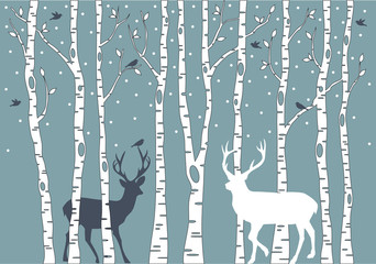 Fototapetabirch trees with deer, vector background