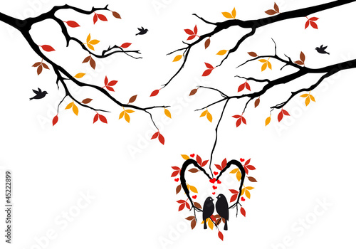 Poster Birds in cages birds on autumn tree in heart nest, vector