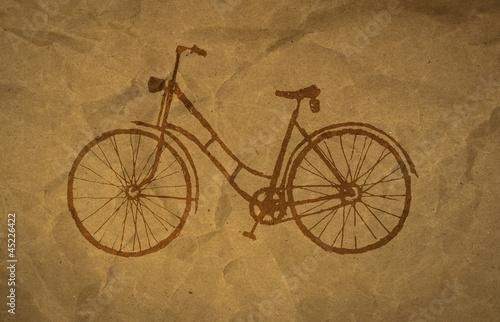 Aluminium Prints Bicycle wrinkled paper craft textur, bicycle