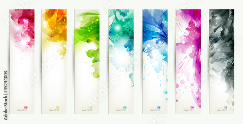 In de dag Abstract wave set of seven varicolored banners, abstract headers with blots