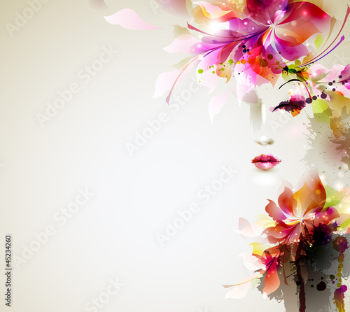 Keuken foto achterwand Bloemen vrouw Beautiful fashion women with abstract design elements