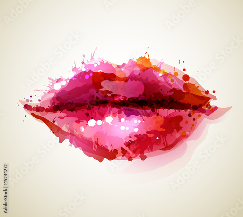 Beautiful womans lips formed by abstract blots Fototapet