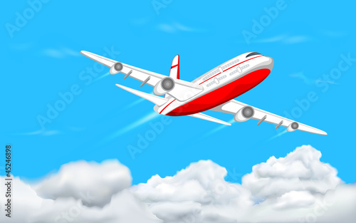 Fotobehang Vliegtuigen, ballon Airplane flying in Sky
