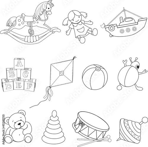 zestaw-przedstawionych-zabawek-dziecka-do-kolorowania-mis-bebenek-pilka-latawiec-maskotka-lalka-baczek-klocki