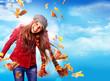 canvas print picture Mädchen im Wind mit bunten Herbstblättern / active autumn 08