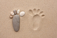 The Footprint Made Up Of Stones