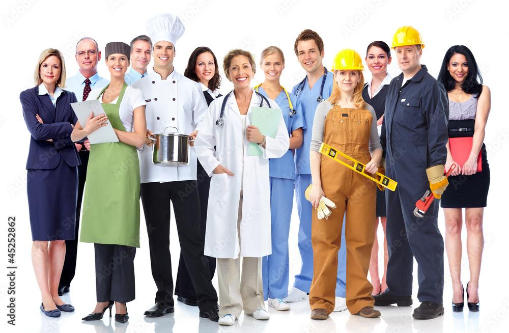 Fototapeta Group of industrial workers.