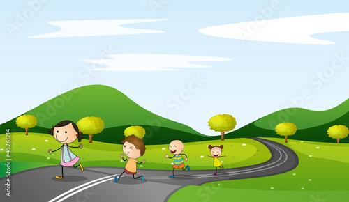 Fotobehang Boerderij kids and road