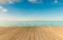 Beautiful Seascape With Empty Wooden Pier