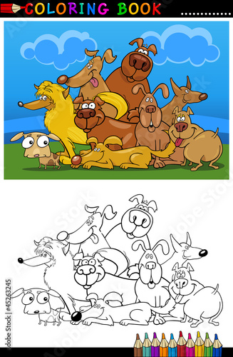 Tuinposter Doe het zelf Cartoon Dogs for Coloring Book or Page