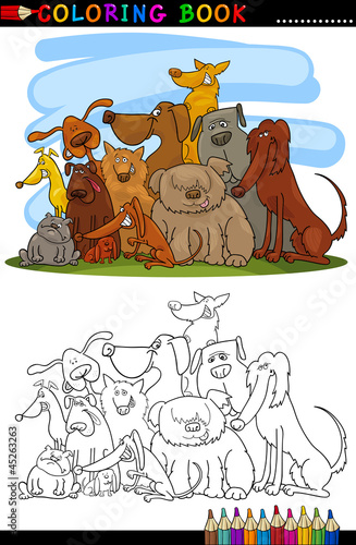 Türaufkleber Zum Malen Cartoon Dogs for Coloring Book or Page