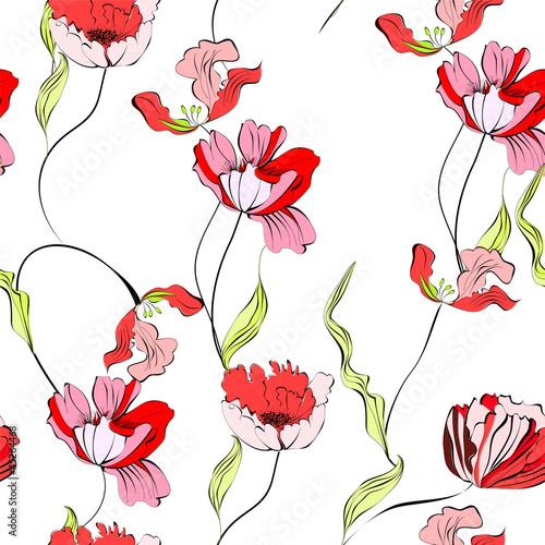 Keuken foto achterwand Abstract bloemen Seamless background with tulips flowers