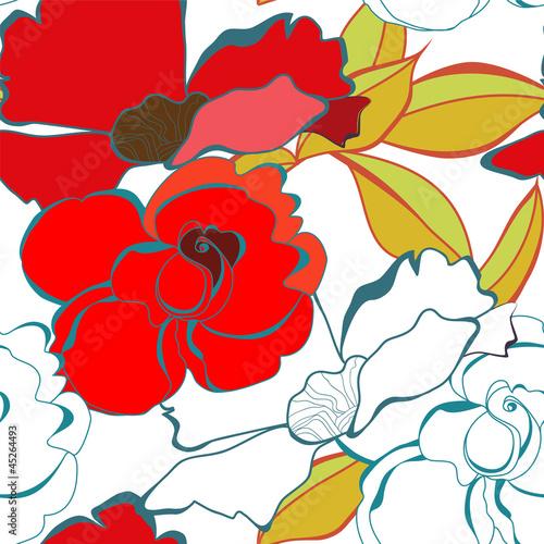Keuken foto achterwand Abstract bloemen Seamless wallpaper with rose flowers