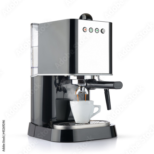 Fotografie, Obraz  Coffee machine with a white cup, isolated path included