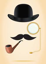 Retro Elements Set: Bowler, Moustache, Tobacco Pipe And Monocle