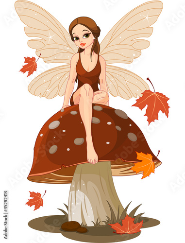 Foto auf Leinwand Die magische Welt Autumn Fairy on the Mushroom