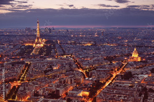 Aluminium Prints Paris Night view of Paris.