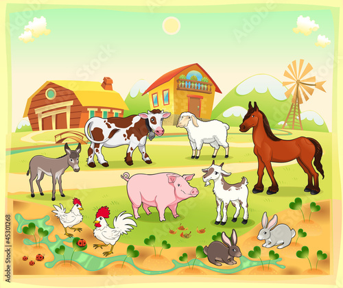 Garden Poster Ranch Farm animals with background. Vector illustration.