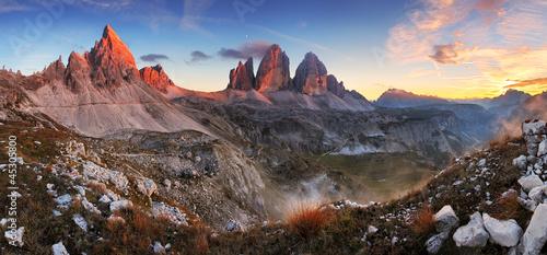 Fotografie, Obraz  Sunset mountain panorama in Italy Dolomites - Tre Cime