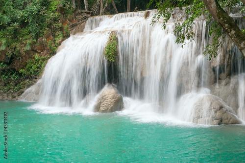 Fototapeten Wasserfalle Fourth cascade of Erawan waterfall