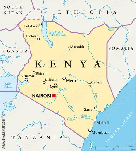 Kenya map (Kenia Landkarte) Wall mural