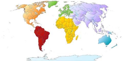 Fototapeta na wymiar Weltkarte mit farbigen Kontinenten