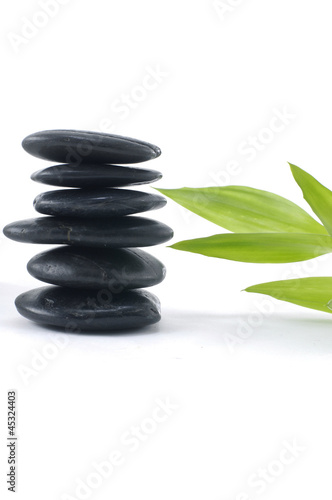 Tuinposter Zen Black stone balancing with green sprout