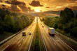 canvas print picture - Highway trafin in sunset