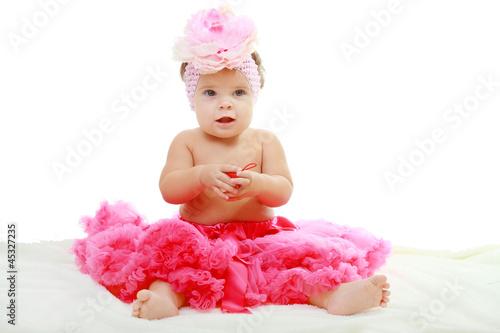 Fotografie, Obraz  sweet infant wearing a pink tutu
