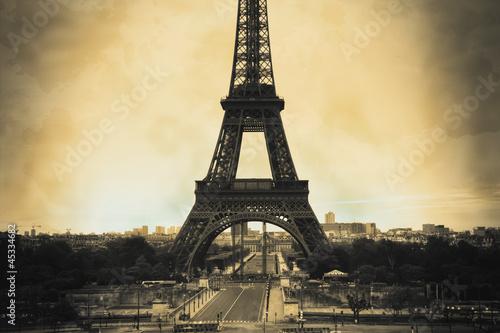 Acrylic Prints Red, black, white Eiffel Tower sepia vintage/retro style