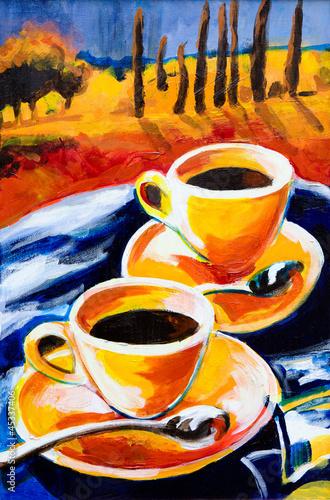 Obraz w ramie Two cups of coffee