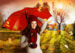 canvas print picture umbrella 06/Mädchen in wunderschöner Herbstlandschaft
