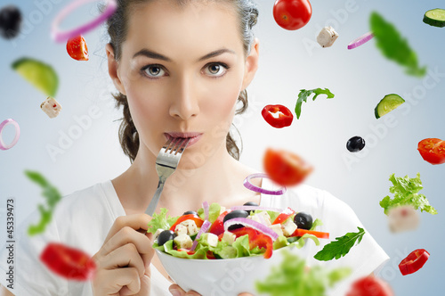 Photo  eating healthy food
